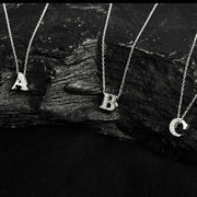 Diamond Initial Letter Pendant Necklace Silver E - LATELITA