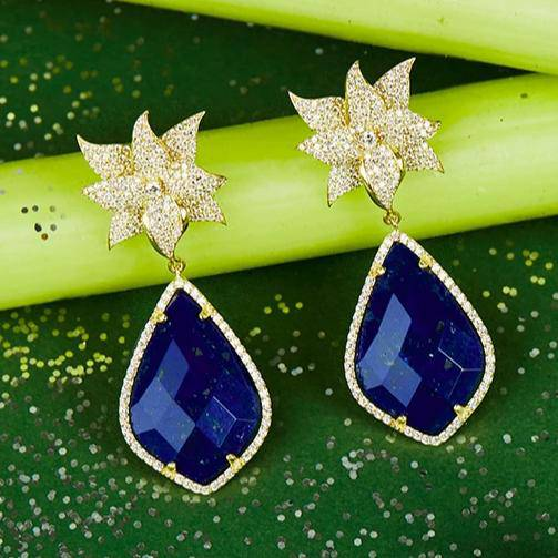 Lotus flower Lapis Lazuli Teardrop Earring gold