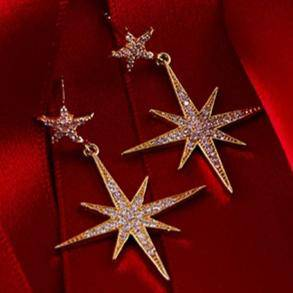 Large Star burst Drop Earring Silver