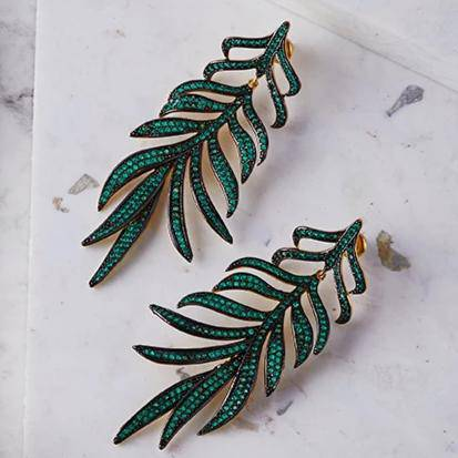 Feathered leaf statement Drop Earring Green CZ - LATELITA