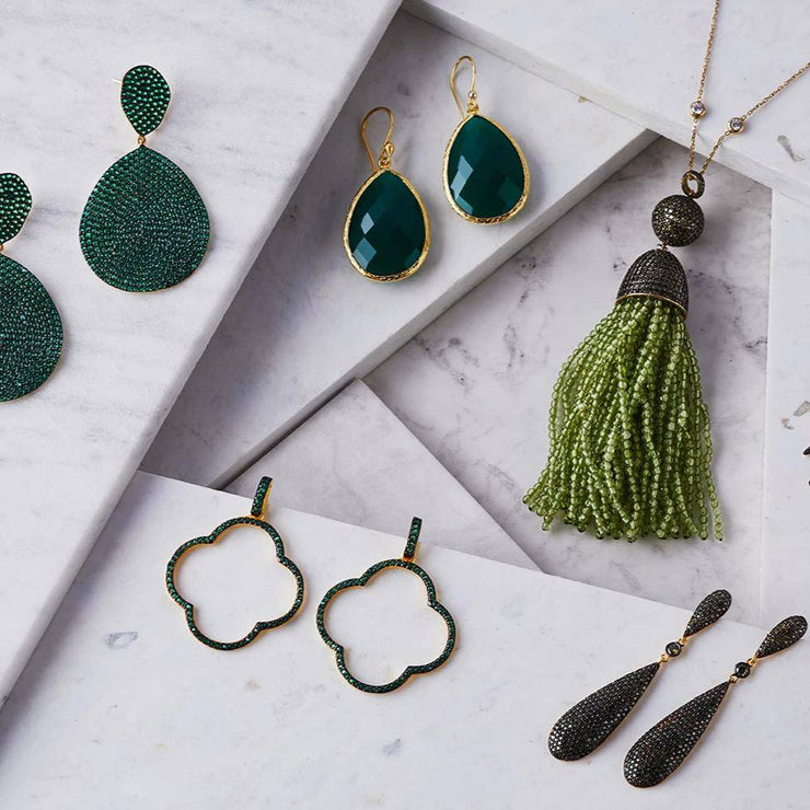 Open Clover Large Drop Earrings Green Gold - LATELITA