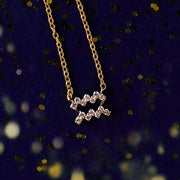 Diamond Zodiac Necklace Gold Aquarius - LATELITA