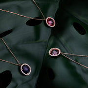 Beatrice Oval Gemstone Pendant Necklace Rose Gold Sapphire Hydro - LATELITA