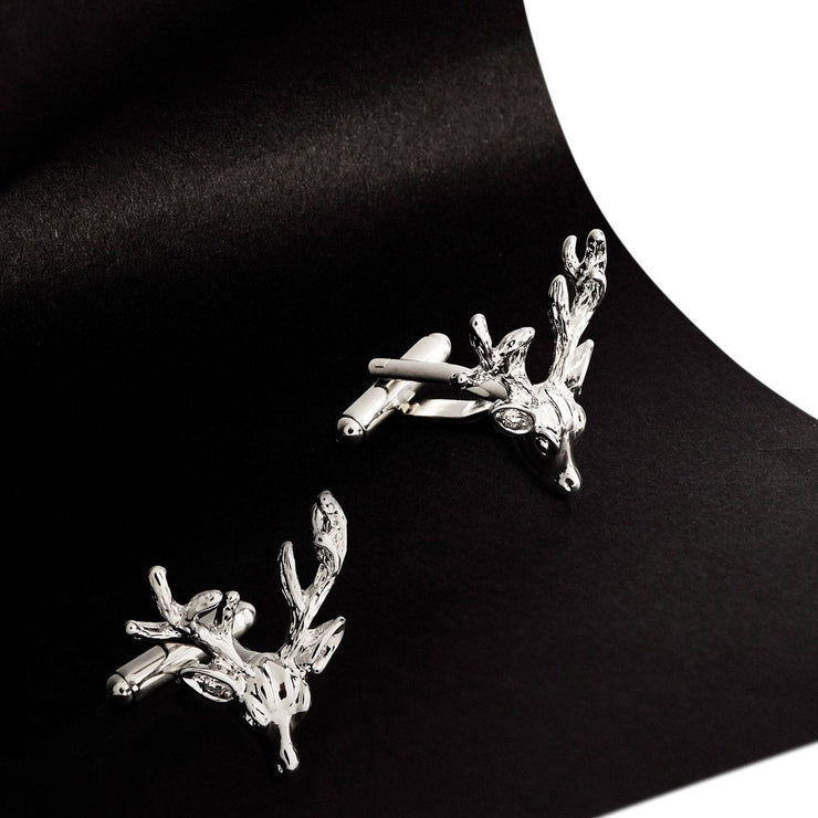 Stags Head Antler Mens Cufflinks Silver - LATELITA