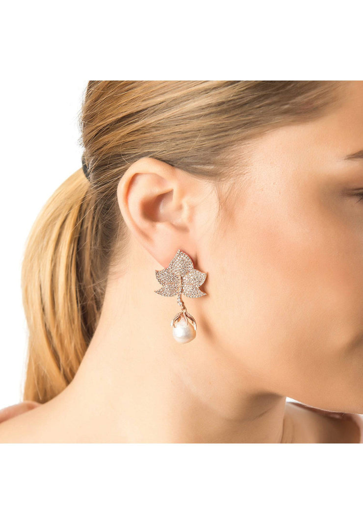 Baroque Pearl Leaf Earring White CZ Silver - LATELITA