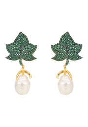 Baroque Pearl Leaf Earring Green Gold