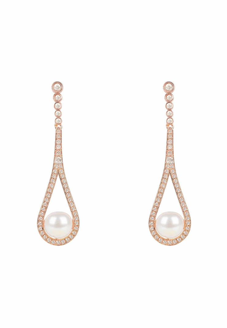 Cradled Pearl Drop Earrings Rosegold - LATELITA