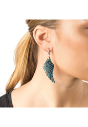 Angel Wing Drop Earring Rosegold Turquoise Blue - LATELITA