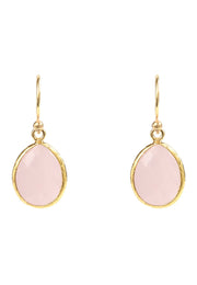 Petite Drop Earring Rose Quartz Gold - LATELITA