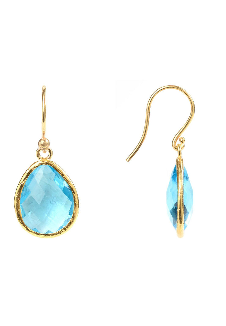 Petite Drop Earring Blue Topaz Hydro Gold - LATELITA