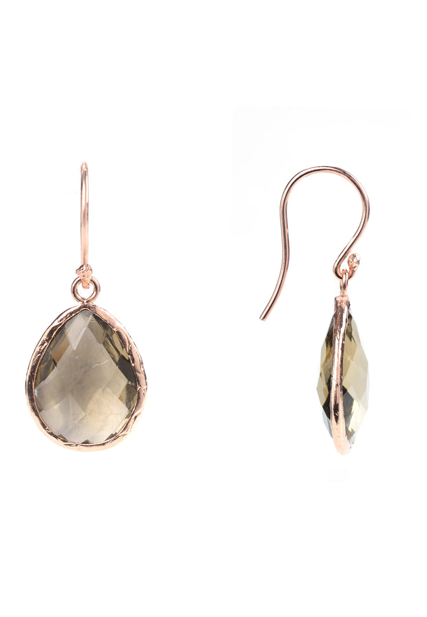 Petite Drop Earring Smokey Quartz Rosegold - LATELITA