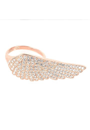 Angel Wing Cocktail Ring Pink Rose Gold Adjustable - LATELITA