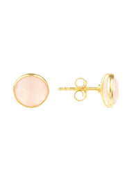 Medium Circle Stud Earrings Gold Rose Quartz - LATELITA