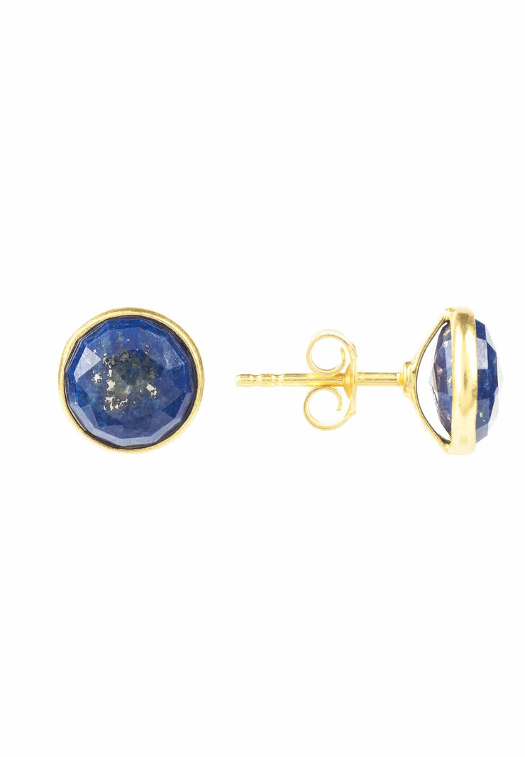 Medium Circle Stud Earrings Gold Lapis Lazuli - LATELITA