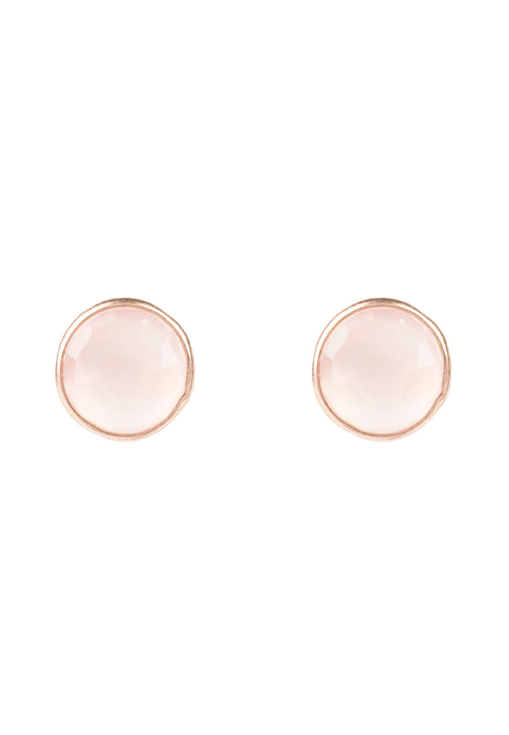 Medium Circle Stud Earrings Rosegold Rose Quartz - LATELITA