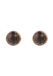 Medium Circle Stud Earrings Rosegold Smokey Quartz - LATELITA