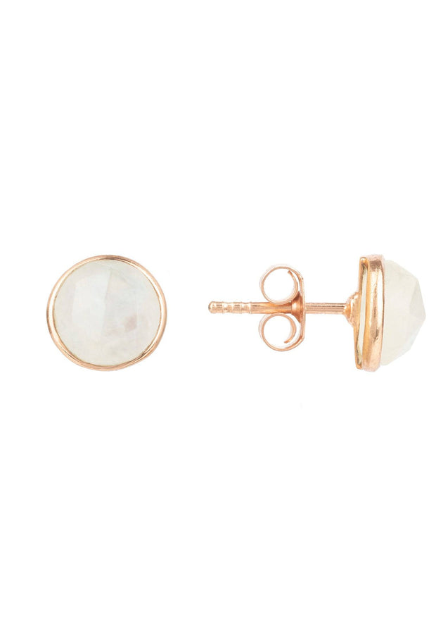 Medium Circle Stud Earrings Rosegold Moonstone - LATELITA