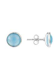 Medium Circle Stud Earrings Silver Blue Chalcedony - LATELITA