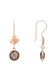 Circle & Hammer Drop Earrings Rosegold Smokey Quartz Hydro - LATELITA
