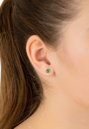 Petite Stud Earring Gold Green Onyx - LATELITA