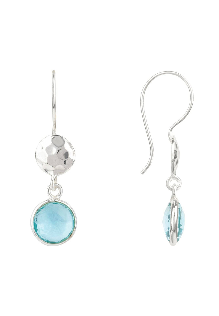 Circle & Hammer Earring Silver Blue Topaz - LATELITA