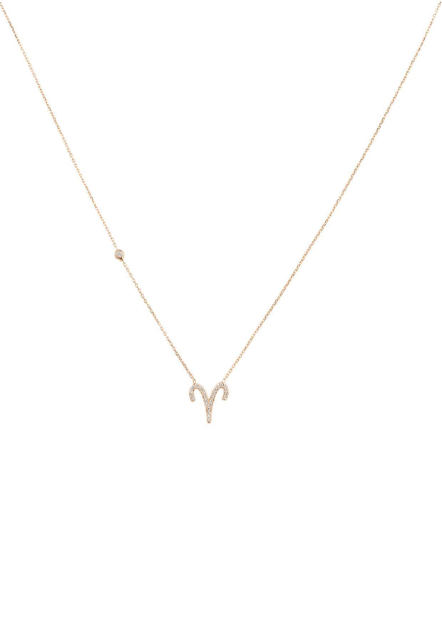 Zodiac Star Sign Pendant Necklace Rose Gold Aries - LATELITA