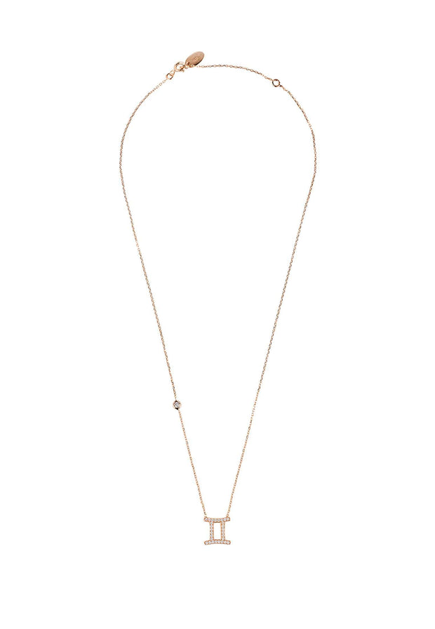 Zodiac Star Sign Pendant Necklace Rose Gold Gemini - LATELITA