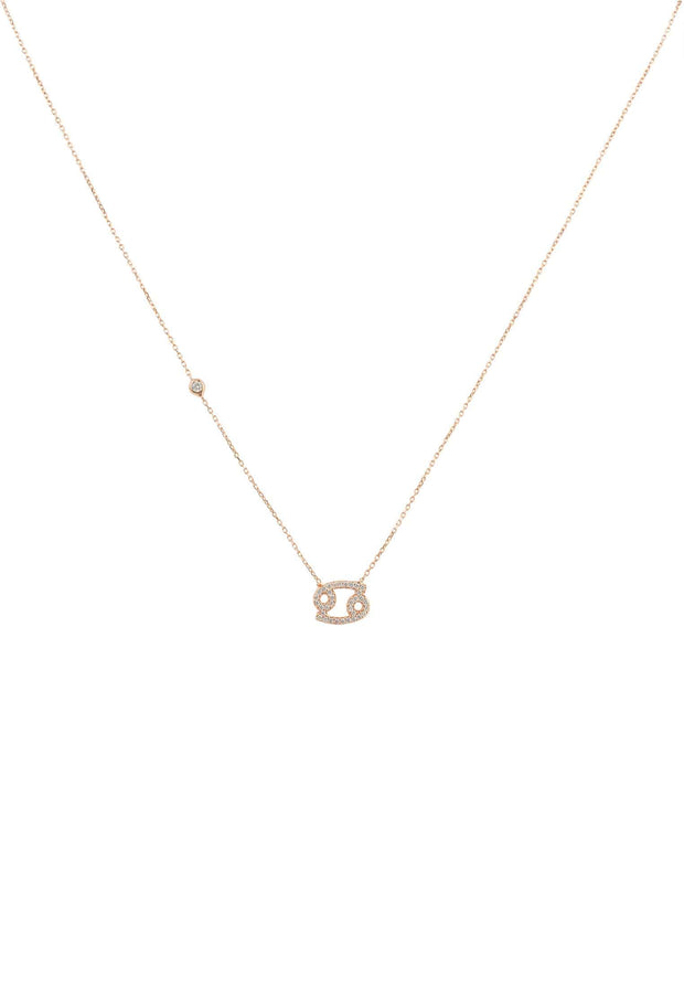 Zodiac Star Sign Pendant Necklace Rose Gold Cancer - LATELITA