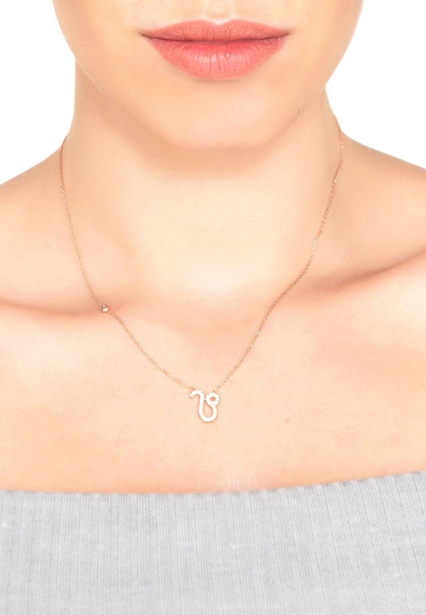 Zodiac Star Sign Pendant Necklace Rose Gold Leo - LATELITA
