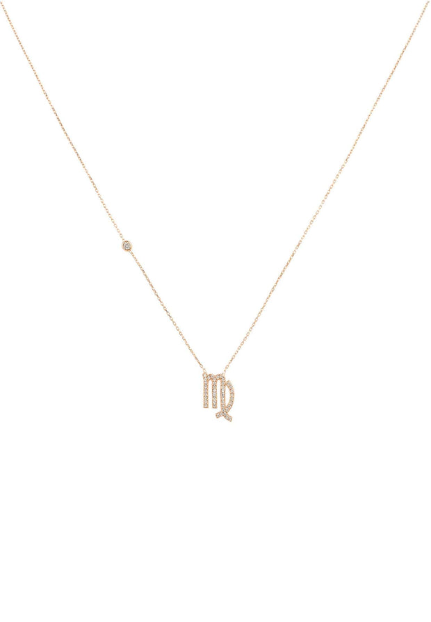 Zodiac Star Sign Pendant Necklace Rose Gold Virgo - LATELITA