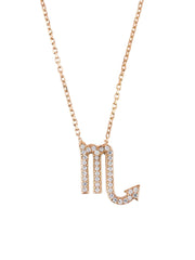 Zodiac Star Sign Pendant Necklace Rose Gold Scorpio - LATELITA