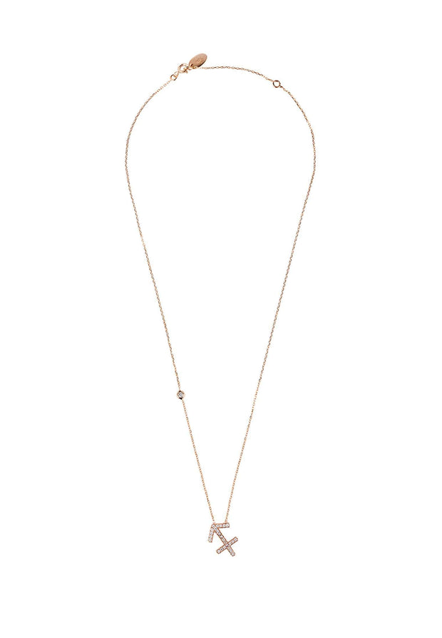 Zodiac Star Sign Pendant Necklace Rose Gold Sagittarius - LATELITA