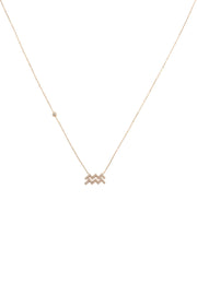 Zodiac Star Sign Pendant Necklace Rose Gold Aquarius - LATELITA