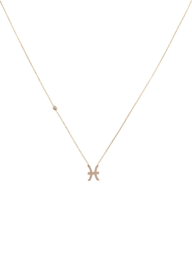 Zodiac Star Sign Pendant Necklace Rose Gold Pisces - LATELITA
