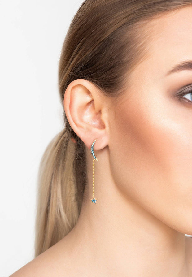 Moon and Star Earring Gold Turquoise - LATELITA