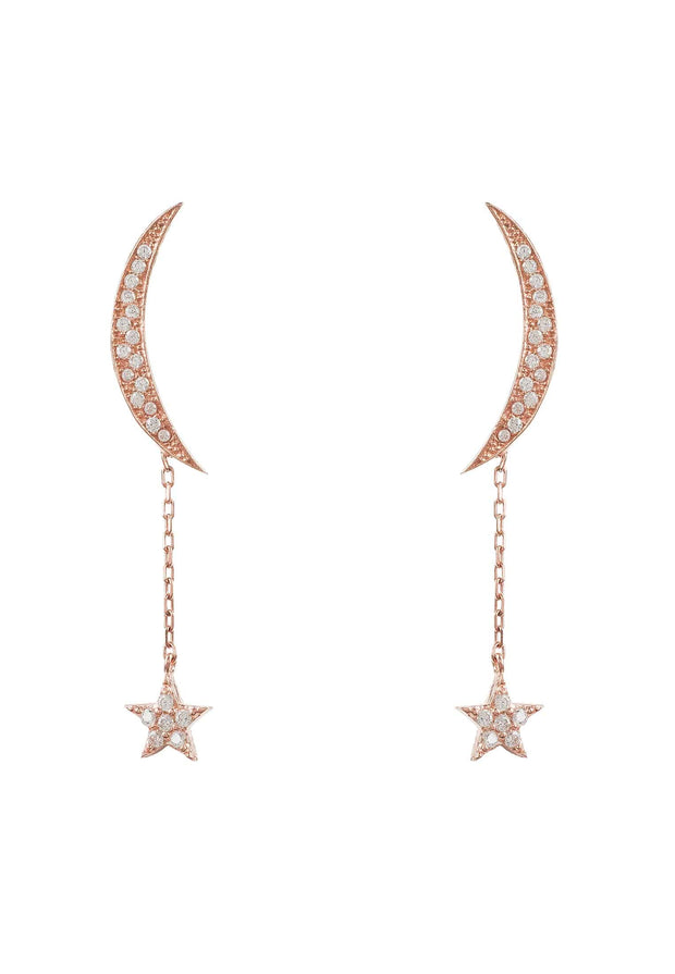 Moon and Star Earring Rosegold White CZ - LATELITA