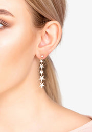 Graduated Star Drop Earring Rosegold - LATELITA