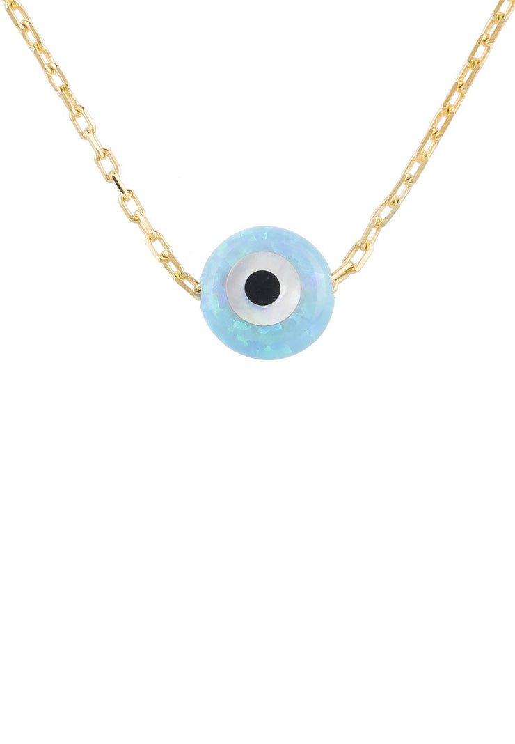 Evil Eye Mini Opalite Pendant Necklace Gold - LATELITA