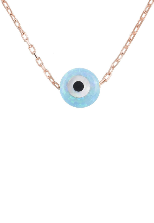 Evil Eye Mini Opalite Necklace Rosegold - LATELITA