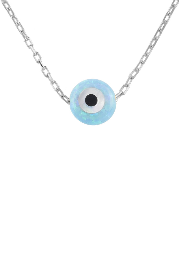 Evil Eye Mini Opalite Necklace Sterling Silver - LATELITA
