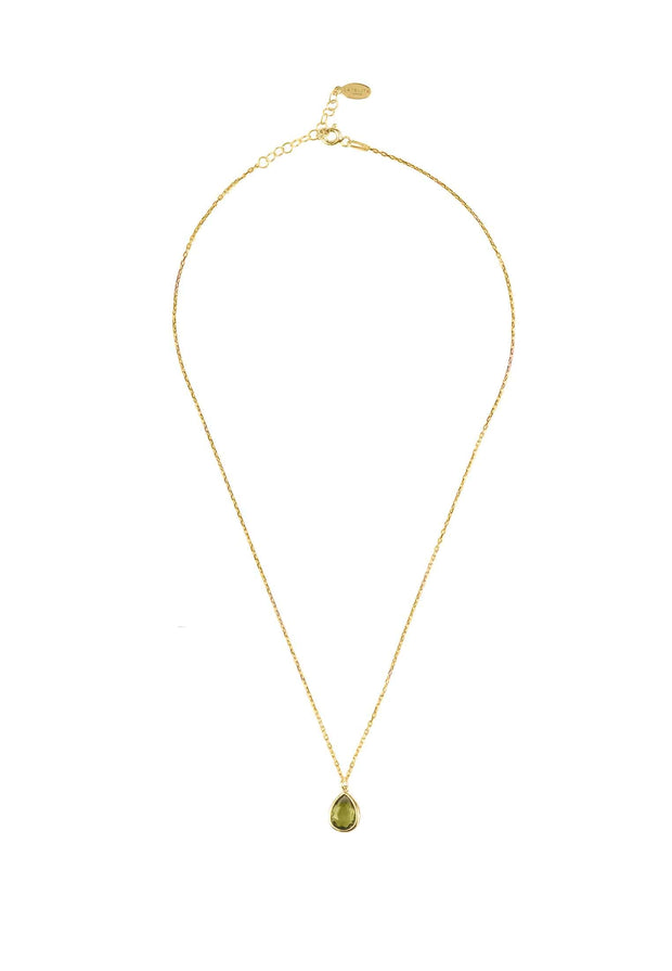 Pisa Mini Teardrop Necklace Gold Peridot - LATELITA