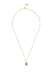 Pisa Mini Teardrop Necklace Gold Citrine - LATELITA