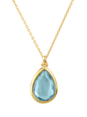 Pisa Mini Teardrop Necklace Gold Blue Topaz - LATELITA