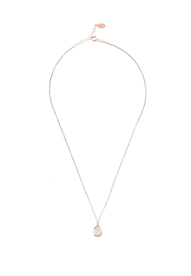 Pisa Mini Teardrop Necklace Rosegold Rose Quartz - LATELITA
