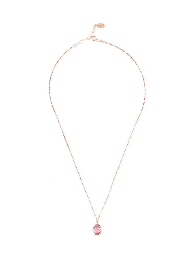 Pisa Mini Teardrop Necklace Rosegold Pink Tourmaline - LATELITA