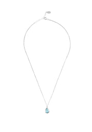 Pisa Mini Teardrop Necklace Silver Blue Topaz - LATELITA