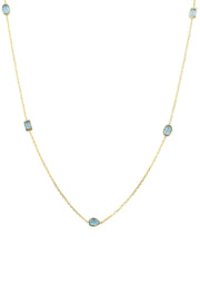 Venice 120cm Long Chain Necklace Gold Blue Topaz - LATELITA