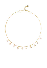 Florence Round Gemstone Necklace Gold Rose Quartz - LATELITA