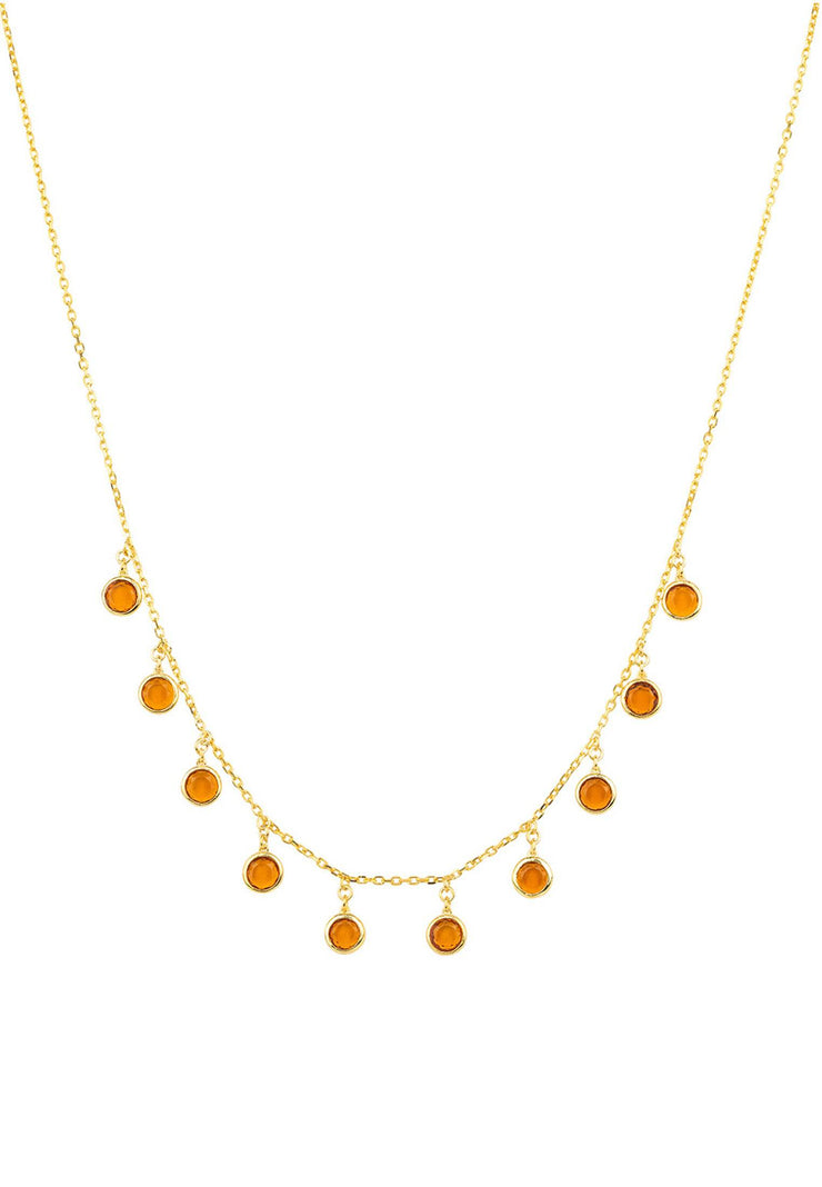 Florence Round Gemstone Necklace Gold Citrine - LATELITA