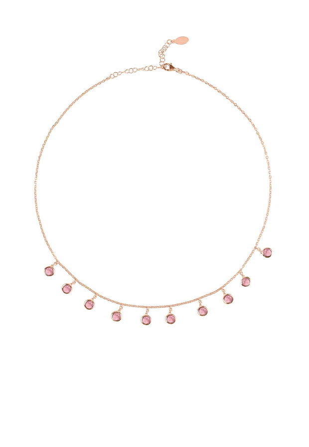 Florence Round Gemstone Necklace Rosegold Pink Tourmaline - LATELITA